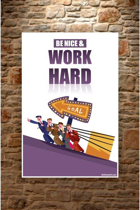 work hard Wall Poster mockup