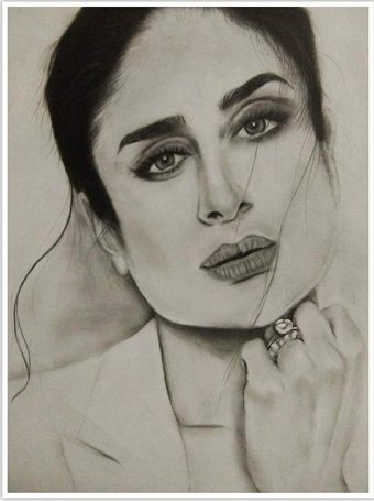 Kareena Kapoor Pencil Sketch Print Wall Poster