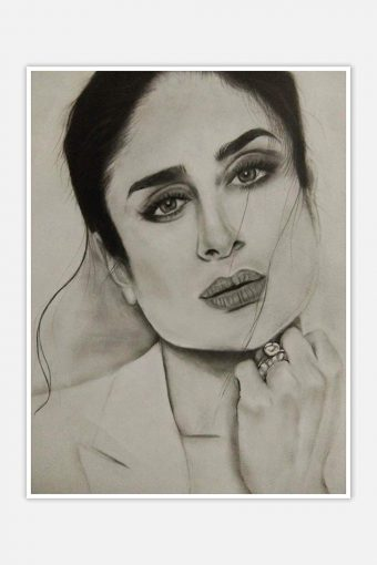 Kareena Kapoor Pencil Sketch Print Wall Poster mockup
