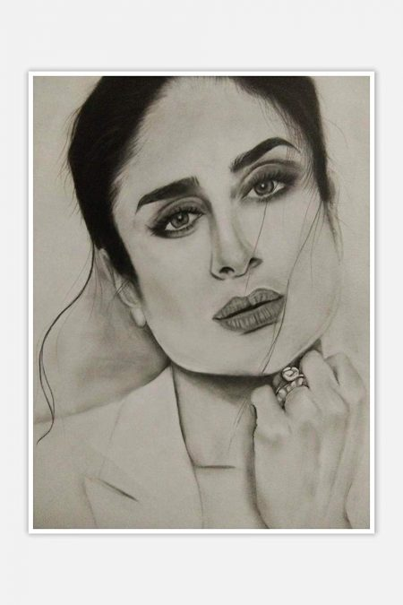 Kareena Kapoor Pencil Sketch Print Wall Poster mockup