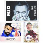 Virat Kohli, M S Dhoni and Cristiano Ronaldo Quotes Poster Combo mockup